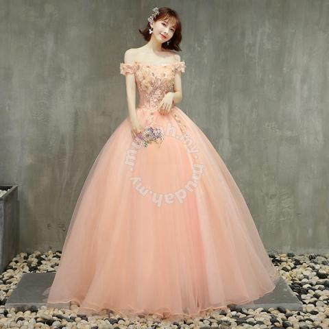 497734f01b Peach off shoulder prom wedding ball dress RB0790 - Wedding for sale in Johor  Bahru