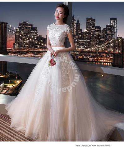 37452abbb7 White two piece wedding bridal prom dress gown - Wedding for sale in Johor  Bahru