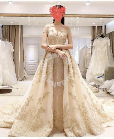 9b05cef8e0 Gold wedding bridal prom evening dress gown RB0475 - Wedding for sale in Johor  Bahru