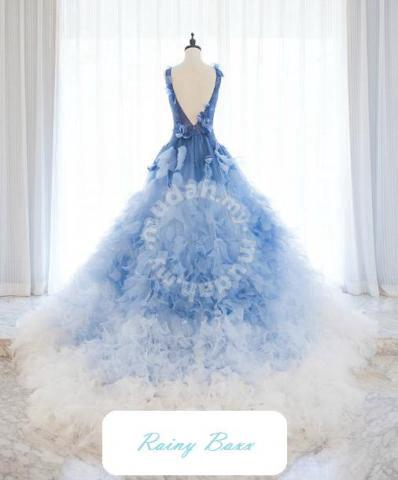 Blue Ombre Wedding Gown Dress Bridal Rb0138