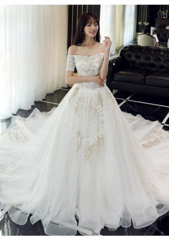 White off shoulder fishtail wedding dress RB0803 - Wedding for sale ...