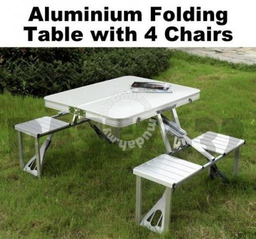 Folding Fold Foldable Table And 4 Chair Sports Outdoors For Sale In Muar Johor Mudah My