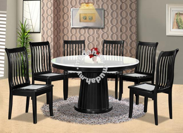 Round Dinning Table Set Meja Makan Bulat