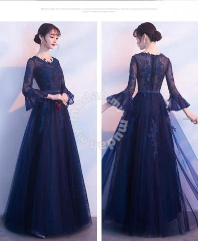 56b16936c7b2 Blue long sleeve wedding prom dress gown RBMWD0098 - Clothes ...