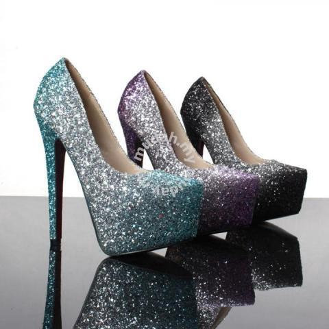 05725aa3786a Black green purple ombre glitter pump high heels - Shoes for sale in Johor  Bahru, Johor