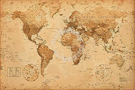 Poster World Map, Antique Style, Maxi Poster - Hobby & Collectibles for  sale in Bukit Bintang, Kuala Lumpur