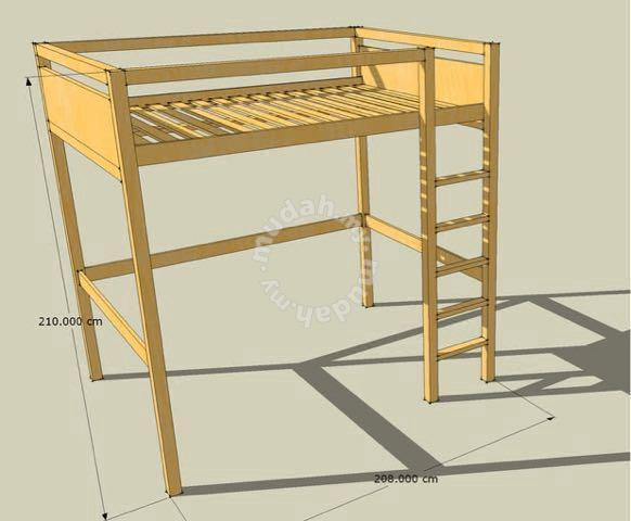 Ikea Tovik Queen Sized Wooden Loft Bed Furniture Decoration For Sale In Seputeh Kuala Lumpur Mudah My