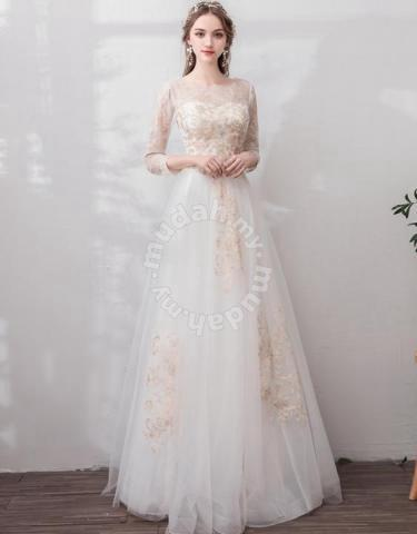 Gold Wedding Dresses.White Gold Long Sleeve Wedding Dress Gown Rb1036 Wedding For Sale In Johor Bahru Johor
