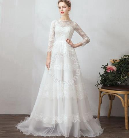 China Long Sleeves Bridal Dress Lace Hi Low Beach Country Garden