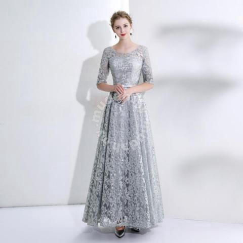 Silver Long Sleeve Wedding Prom Dress