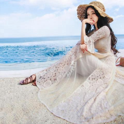 19d87460e4 White lace long sleeve prom maxi dress RBP0215 - Clothes for sale in ...
