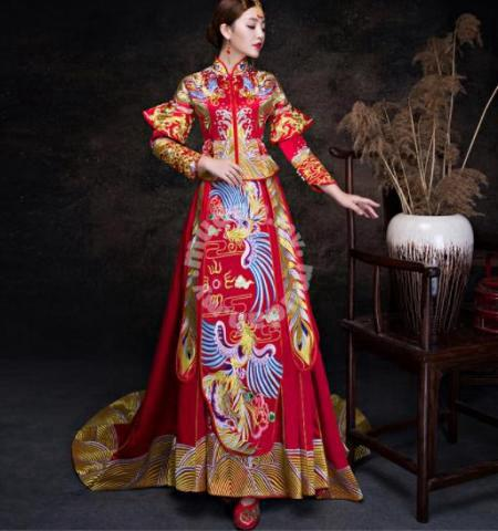 Cheongsam Wedding Dress | Red Long Sleeve Cheongsam Wedding Dress Rbmwd0160 Clothes For Sale