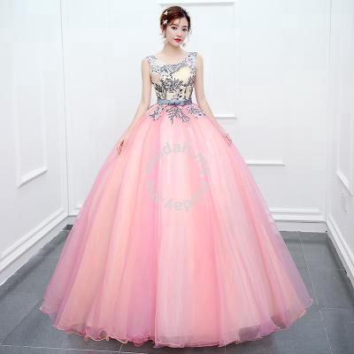 Blue pink puffy wedding bridal gown dress