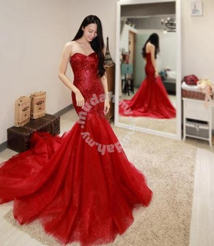 Red Mermaid Fishtail Wedding Dress Gown Rb1579 Wedding For Sale
