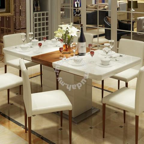 Dining Table Tempered Glass Extendable Furniture Decoration For Sale In Kota Kinabalu Sabah