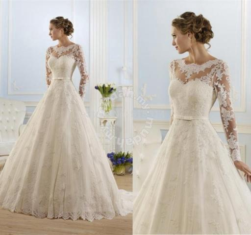 White Long Sleeve Lace Wedding Gown Dress Rb0066 Clothes For Sale