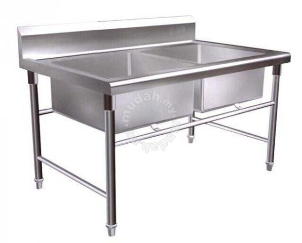 Stainless Steel Double Bowl Sink Table 4 Feet