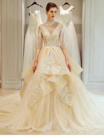 Long Sleeve Wedding Bridal Dress Gown