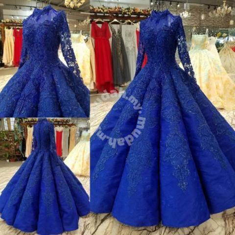 Blue Long Sleeve Diamond Wedding Dress Rbmwd0233 Wedding For Sale In Johor Bahru Johor Mudah My