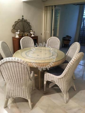 Wicker Rattan Dining Table Set With 8, Wicker Rattan Dining Room Chairs
