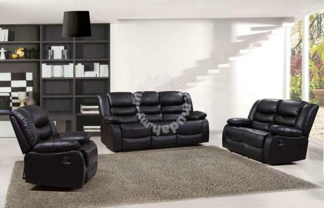 Genuine Cowhide Leather Sofa With Recliner Puchong Furniture Decoration For In Selangor