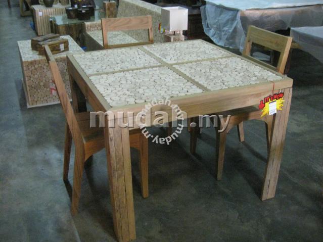Aipj Teak And Eucalyptus Wooden Dining Table   Furniture U0026 Decoration For  Sale In Ipoh, Perak