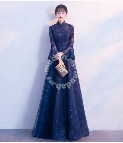 805b959c48 Blue long sleeve cheongsam prom wedding dress - Wedding for sale ...