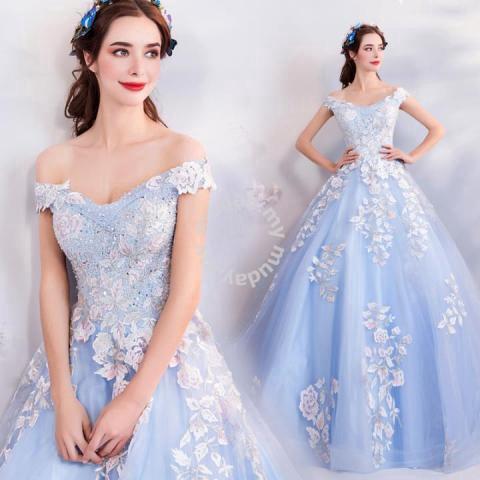 63cb687f72 Blue prom glitter wedding gown dress RB0761 - Wedding for sale in Johor  Bahru