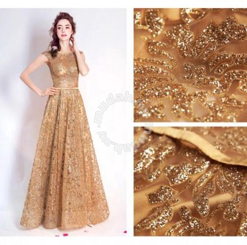 Gold Glitter Dinner Dress Prom Wedding Rbp0073 Clothes For In Johor Bahru