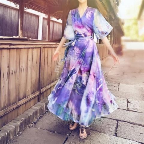 14a070a66ef7 Purple long sleeve boho summer maxi dress RBP0543 - Clothes for sale in  Johor Bahru