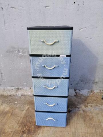 Q83 A Laci Plastic Drawer 5 Tier Blue, Plastic Drawer Cabinet Tesco
