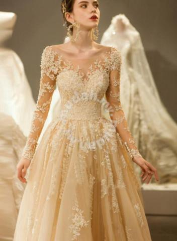 Cream Long Sleeve Wedding Dress Gown