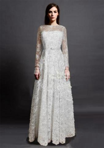 Long Sleeve Lace Wedding Bridal Dinner Prom Dress Clothes For Sale
