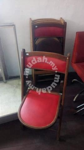 Vintage Wooden Folding Foldable Chair With Leather Furniture Decoration For Sale In Bangsar Kuala Lumpur