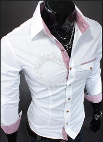 New korean elegant plaid stripe slimfit shirt (W) - Clothes for sale in  Johor Bahru, Johor