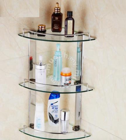 bathroom glass rack t304 corner rak bed bath for sale in kota kinabalu sabah - Bathroom Accessories Kota Kinabalu