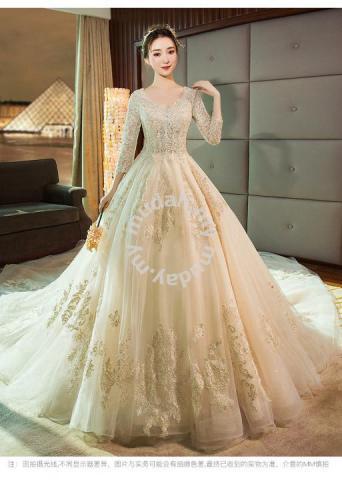 Cream Long Sleeve Wedding Bridal Gown