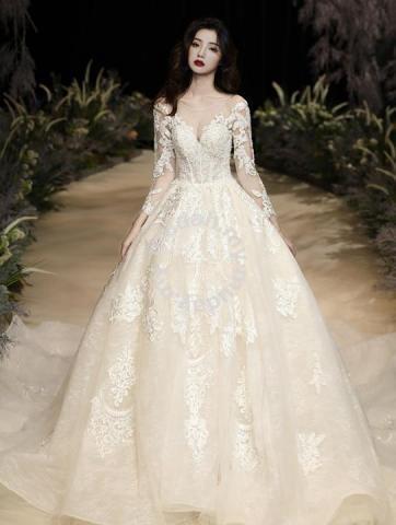 Cream Long Sleeve Wedding Bridal Dress