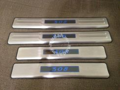 Peugeot 308 stainless steel side step wit blue led