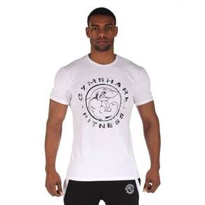Gym Shark Slim Fit Elastic White Shirt baju