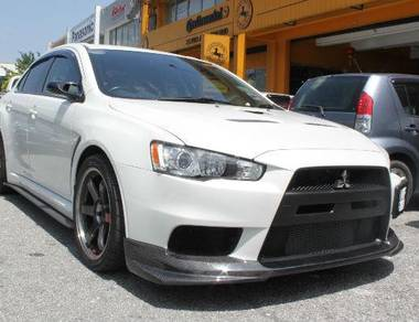 Evo X V1 front Varis style Carbon lip skirt