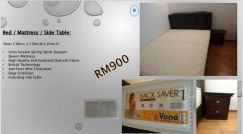 Bed, mattress & side table