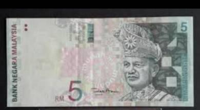 Duit Lama RM10 Aishah dan RM5 kertas