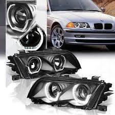 BMW E46 98-01 Black Projector w Crystal Bar