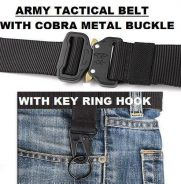 Army Tactical Belt with Key Ring Hook
