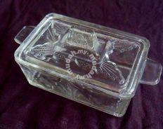 Vintage Glass Butter Dish - 1960s