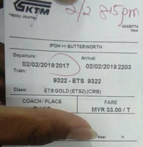 Tiket ktm ipoh to butterworth 02/2/19