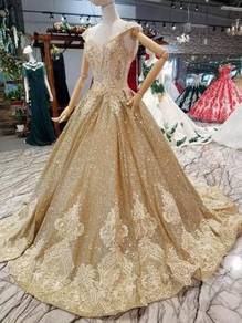 Gold wedding bridal dress gown RB0930