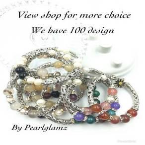 Women Bracelet With Original Pearl and Gemstones