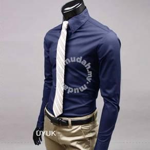 Business Men Formal Long Sleeve Shirt (Dark Blue)